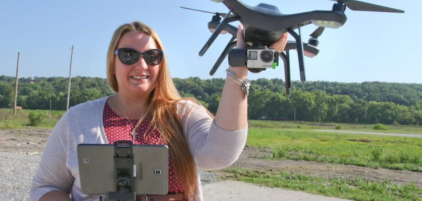 ROBERT K. YOSAY  | THE VINDICATOR  The 3DR Solo Drone Quadcopter is off taking pictures of the landscape for her team: The Western Reserve Port AuthorityÕs Northeast Ohio Development and Finance Authority.  Weebo - as it is nicknamed-- Sara Jackson -   - -30-